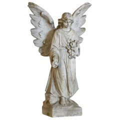 Carved Marble Angel with Outstretched Wings