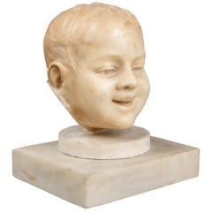 Carved Marble Fragment of a Young Boy