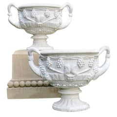 Carved Marble Handled Urns