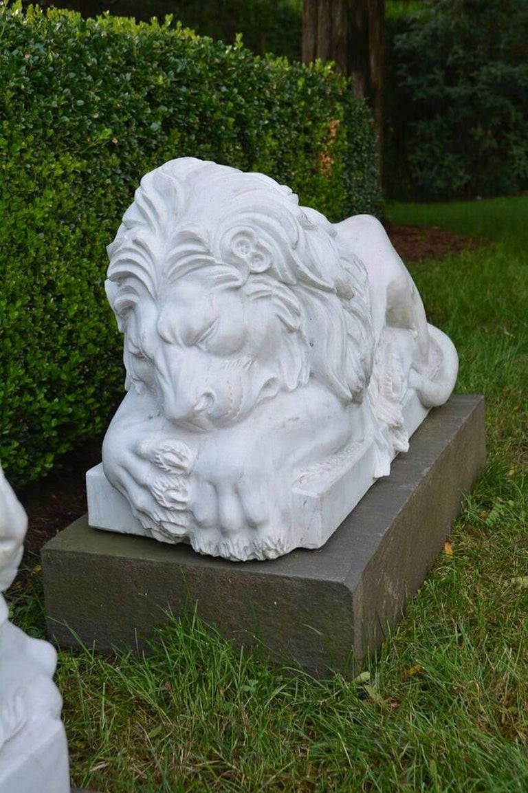 Chinese Carved Marble Lions For Sale