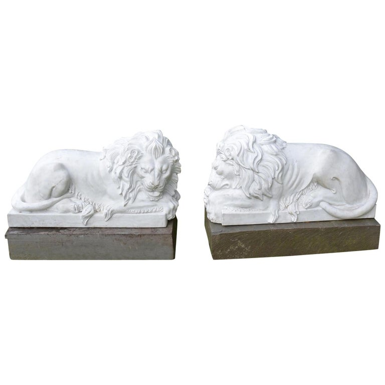 Carved Marble Lions For Sale