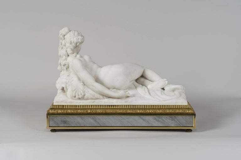 Carved Marble Mantel Clock by Henry Dasson, Dated 1880 In Good Condition For Sale In London, GB