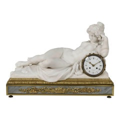 Carved Marble Mantel Clock by Henry Dasson, Dated 1880