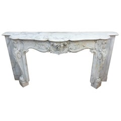 Carved Marble Mantel Louis XV Style