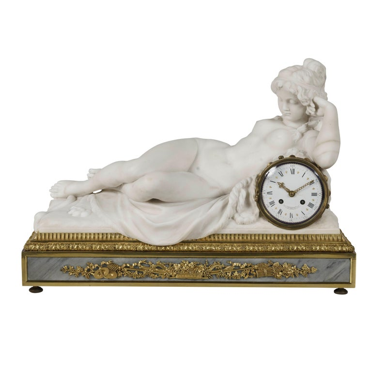 Carved Marble Mantel Clock by Henry Dasson, Dated 1880 For Sale