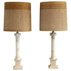 Carved Marble Pillar Lamps W/ Maria Kipp Shades