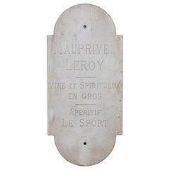 Carved Marble Vintner or Bistro Sign 20th Century