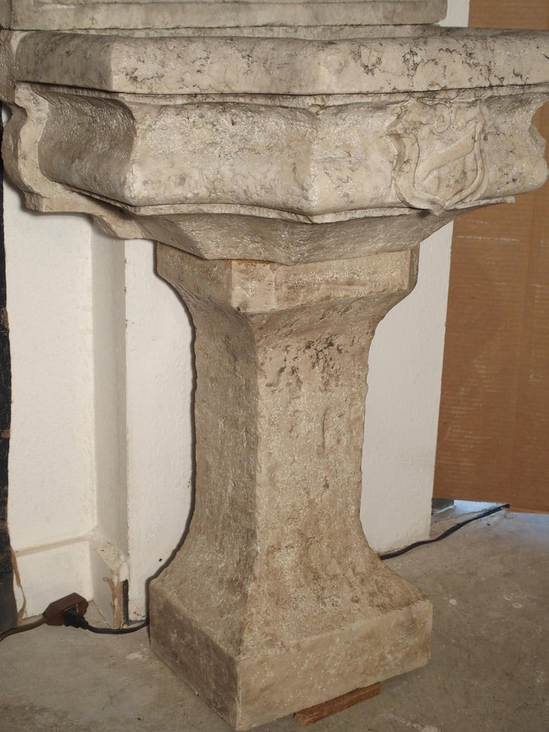 Italian Carved Marble Wall Fountain from Veneto Italy For Sale