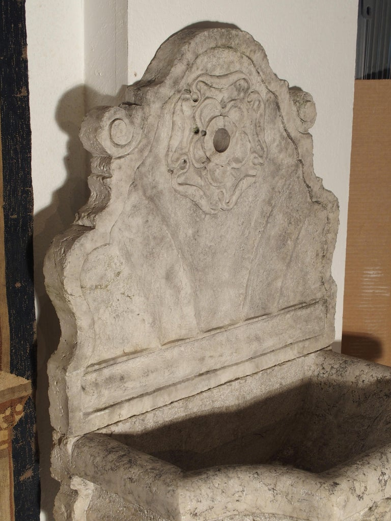 Carved Marble Wall Fountain from Veneto Italy In Good Condition For Sale In Dallas, TX