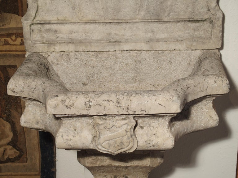 Carved Marble Wall Fountain from Veneto Italy For Sale 3