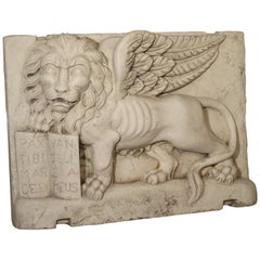 Carved Marble Wall Plaque from Italy, The Winged Lion of Venice