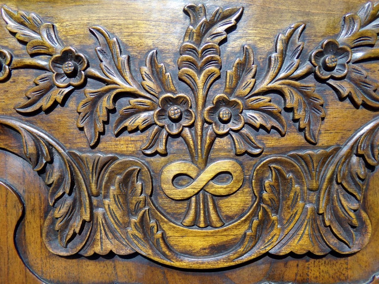 Fruitwood Carved Marriage Louis XV Provencal Style Bonnetiere/Armoire, circa 1850 For Sale