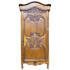 Carved Marriage Louis XV Provencal Style Bonnetiere/Armoire, circa 1850