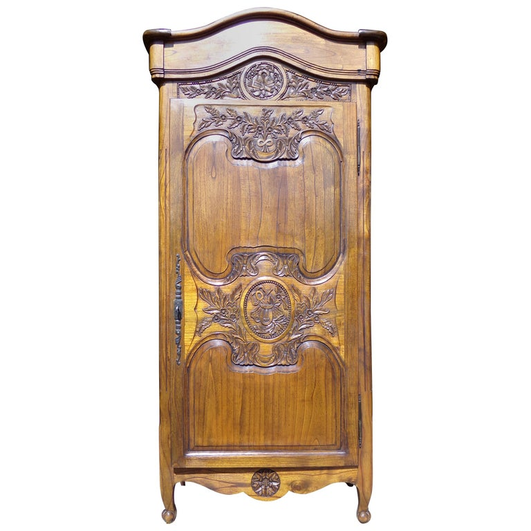 Carved Marriage Louis XV Provencal Style Bonnetiere/Armoire, circa 1850 For Sale