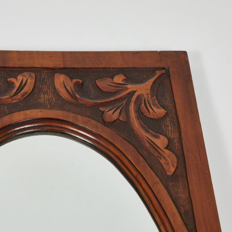 Carved Mirror with Oval Beveled Glass In Good Condition For Sale In Los Angeles, CA