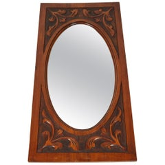 Carved Mirror with Oval Beveled Glass