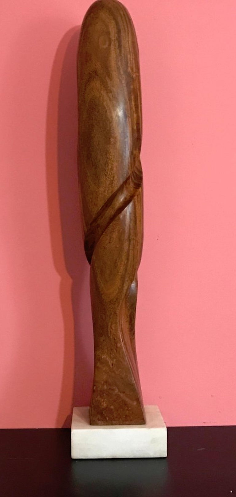 French Carved Modern Wood Sculpture, Attributed to Henry Moretti For Sale
