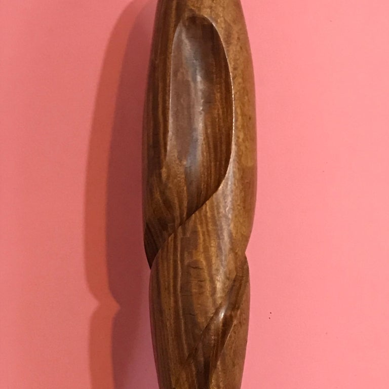 20th Century Carved Modern Wood Sculpture, Attributed to Henry Moretti For Sale
