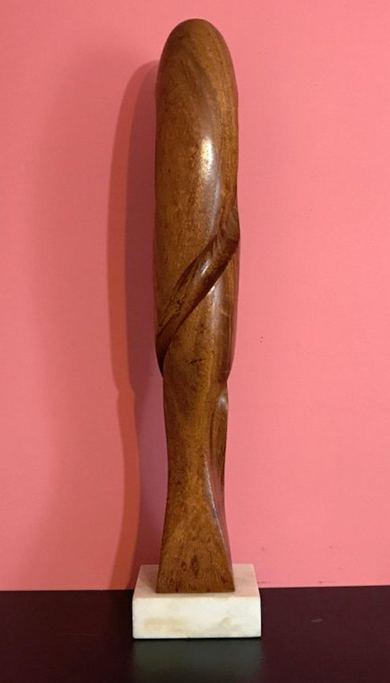 Mahogany Carved Modern Wood Sculpture, Attributed to Henry Moretti For Sale