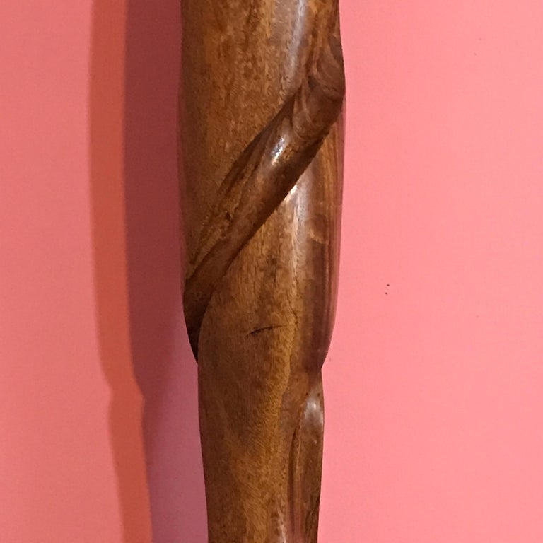Carved Modern Wood Sculpture, Attributed to Henry Moretti For Sale 1