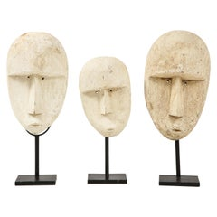 Carved Modernist Plaster Mask Sculptures