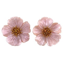 Carved Mother of Pearl Citrine 18 Karat Yellow Gold Flower Earrings Clip Backs