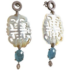 Carved Mother of Pearl Diamonds 18 Karat White Gold Calcedonio Earrings
