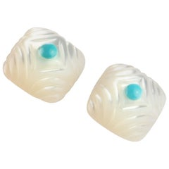 Carved Mother of Pearl Square Cabochon Turquoise 18 Karat Gold Stud Earrings