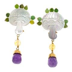 Carved Mother of Pearls Jade Amethyst 18 Karat Gold Earrings