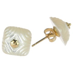 Carved Mother Pearl Square Natural Cabochon 18 Karat Gold Flower Stud Earrings
