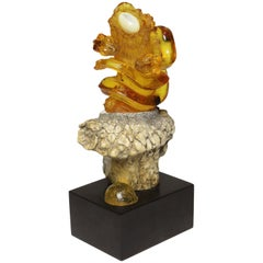 "Carved Natural Amber Sculpture ""Nesting Snakes""  by Lee Downey Bali, Indonesia"