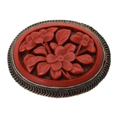 Carved Natural Coral Antique Brooch Pin