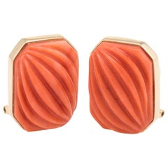 Carved Natural Coral Square Earrings Vintage 14 Karat Yellow Gold Estate Jewelry