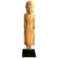 Carved Natural Wood Standing Thai Temple Shrine Buddha on Display Stand
