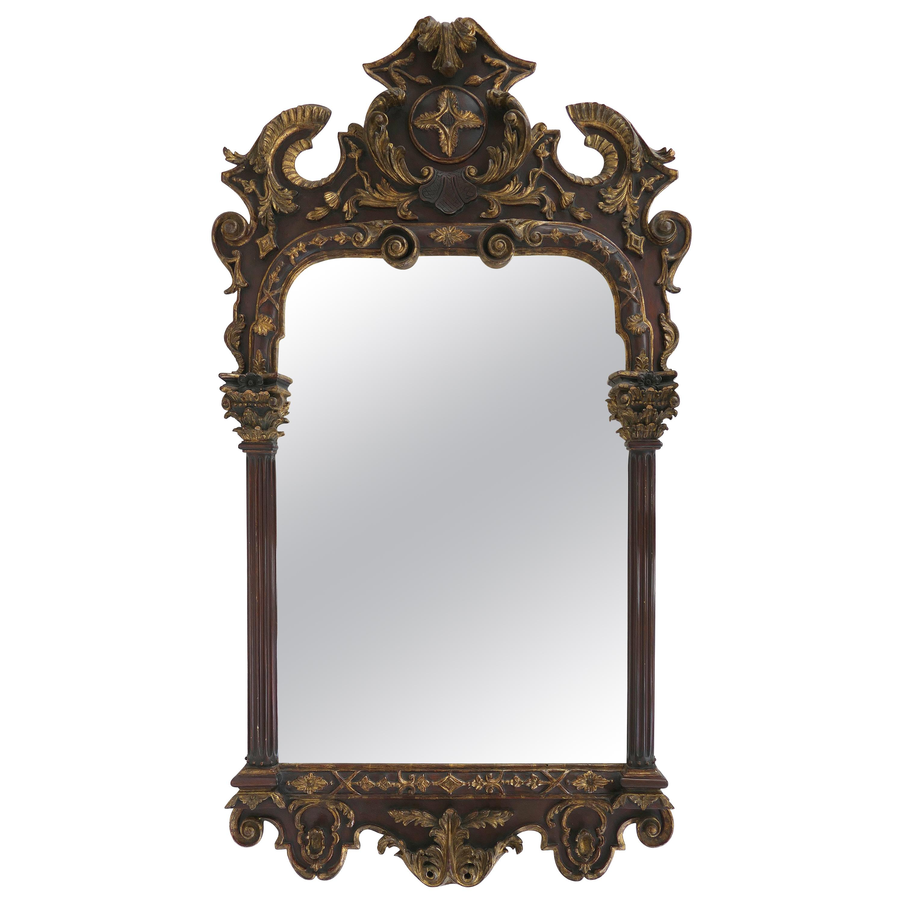 Carved Neoclassical Giltwood Mirror with Corinthian Columns and Acanthus Leaves