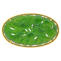 Carved Nephrite Jade Gold Brooch Pin