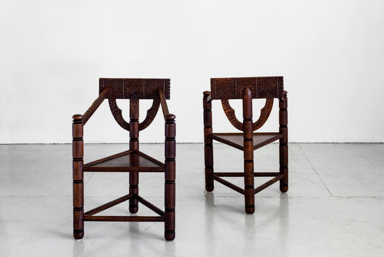 Swedish Carved Nordic Monk Chairs For Sale