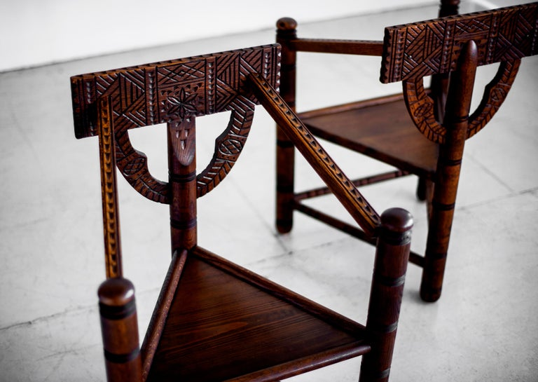 Carved Nordic Monk Chairs In Good Condition For Sale In Los Angeles, CA
