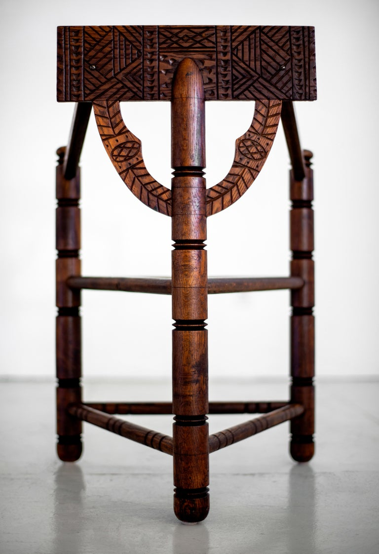Carved Nordic Monk Chairs For Sale 1