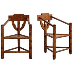 Carved Nordic Monk Chairs