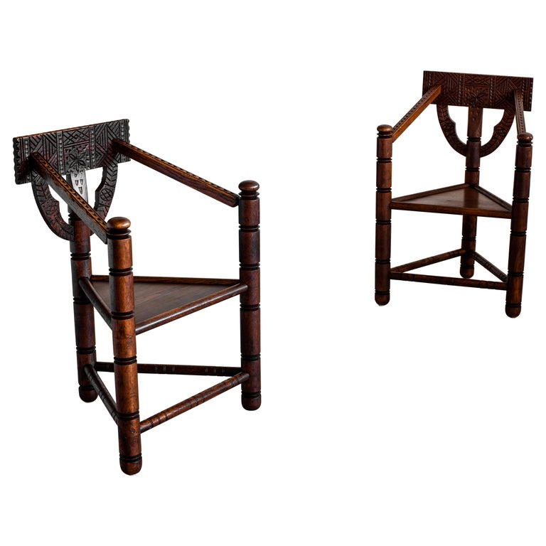 Carved Nordic Monk Chairs For Sale