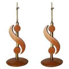Carved Oak and Brass Biomorphic Modernist Table Lamp, Pair