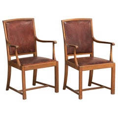 Carved Oak and Leather Armchairs, England, circa 1930