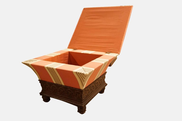 William IV carved oak and upholstered ottoman stool attributed to Thomas King.