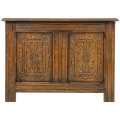 Antique Carved Oak Blanket Box, Oak Trunk, Toy Box, Scotland 1940, B1696