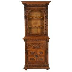 "Antique Oak Bookcase, Display Cabinet, Gothic, ""Green Man"", Scotland 1880, B1659"