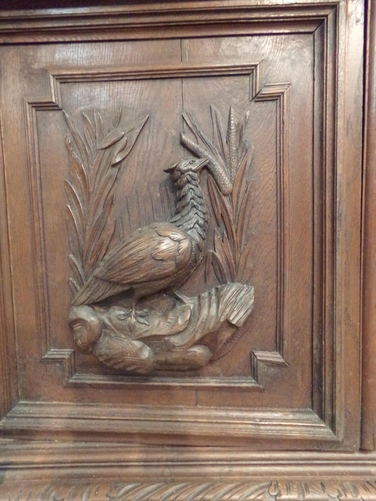 Carved Oak Bookcase / Gun Cupboard In Good Condition For Sale In London, GB