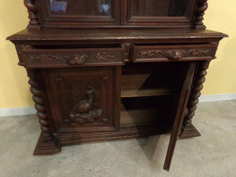 Carved Oak Bookcase / Gun Cupboard For Sale 1