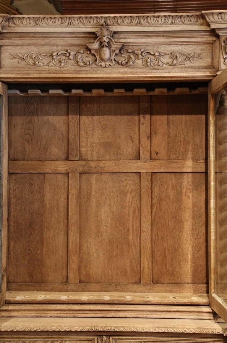 Carved Oak Bookcase / Gun Cupboard For Sale 2