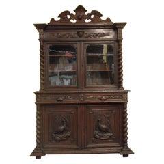 Carved Oak Bookcase / Gun Cupboard